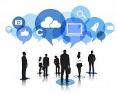 Silhouettes of Business People with Social Media Concepts