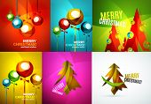 Set of Glossy Christmas baubles trees, Happy New Year greeting card template