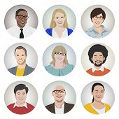 Vector of Diverse Cheerful People's Faces