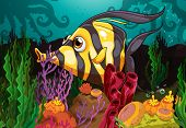 Wallpaper of underwater picture with fish and coral