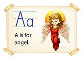 Illustration of alphabet A is for angel