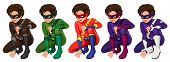 Illustration of superhero in different color costumes