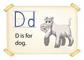 Illustration of Alphabet D is for dog