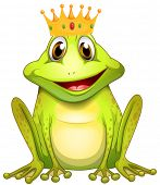 Poster of a green frog prince with a crown