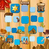 Set of ladder boardgame with cowboy theme