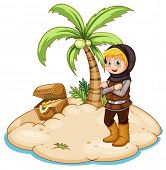 Illustration of a knight on an island