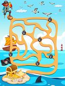 Illustration of a maze game with ocean view