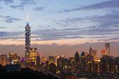 TAIPEI - NOVEMBER 29th : Taipei city night scenery with famous 101 skyscraper on November 29th, 2014 in Taipei, Taiwan.