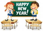 Illustration of students and a happy new year board