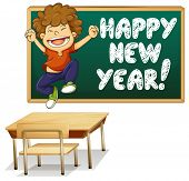 Illustration of a boy and happy new year board
