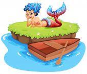 Illustration of a mermaid on an island