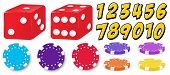 Set of game with numbers, chips and dice