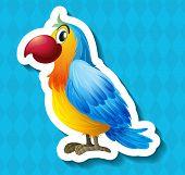 Sticker of a bird on a blue background
