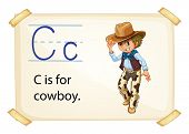 Illustration of alphabet C is for cowboy
