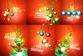 Set of colorful bright Chrismas card, modern abstract template