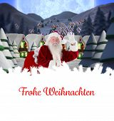 Santa delivery presents to village against christmas greeting in german