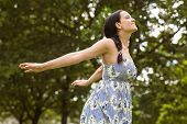Peaceful brunette in dress standing in the park