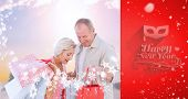 couple with shopping bags against red vignette