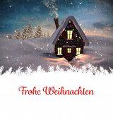 Christmas greeting in german against christmas house