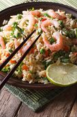 Japanese Chahan: Fried Rice With Shrimp Closeup. Vertical