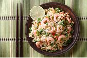 Fried Rice With Seafood And Egg Close-up, Horizontal Top View