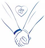 pic of gay symbol  - Blue outline illustration of two gays holding hands - JPG