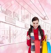 Brunette in winter clothes holding shopping bags against light glowing dots on pink