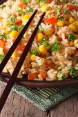 Chinese Fried Rice With Eggs, Corn And Spices,  Vertical