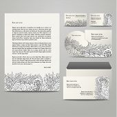 Template with grey floral pattern