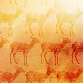vector vintage illustration of antelopes pattern on the watercolor background