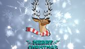 Merry Christmas message against snowflake design shimmering on blue