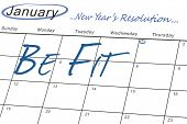 new years resolution against january calendar