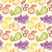 retro fruits pattern