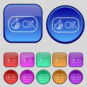 Ok Sign Icon. Set Of Colored Buttons. Vector
