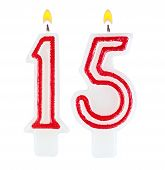 Birthday Candles Number Fifteen Isolated