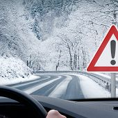 Постер, плакат: Winter Driving Caution Snow Curvy Snowy Country Road