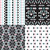 Seamless geometric aztec tribal theme pastel abstract background pattern collection set in vector