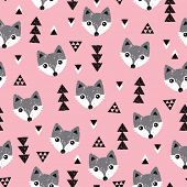 Seamless geometric baby fox kids woodland theme background pattern in vector