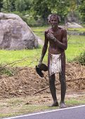Tamil Man Walks With Only A Loin-cloth.