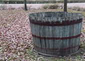 Wooden Tub To Pick The Grapes During The Harvest And Wine Making