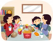 Illustration of a Family Eating Fast Food for Dinner