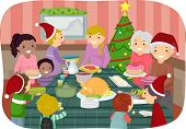 Illustration of Family Friends Celebrating Christmas Together