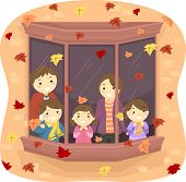Illustration of a Family Watching Autumn Leaves Fall From Their Window