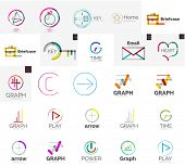 Set of various universal company logos - letters business symbols, loops, concepts, arrows, infinity