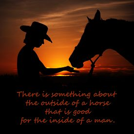 stock photo of horse girl  - There is something about the outside of a horse that is good for the inside of a man  - JPG