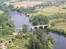 image of domme  - A view of the bridge at Cenac in the Dordogne valley, France taken from Domme