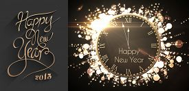 picture of cursive  - Classy new year greeting against black and gold new year message - JPG