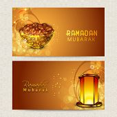 picture of kareem  - Beautiful website header or banner set decorated with dates and illuminated Arabic lantern for holy month of Muslim community - JPG