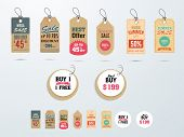 stock photo of 50s  - Set of Mega Sale tags or labels design with best discount offers - JPG