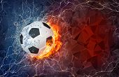 picture of polygon  - Soccer ball on fire and water with lightening around on abstract polygonal background - JPG